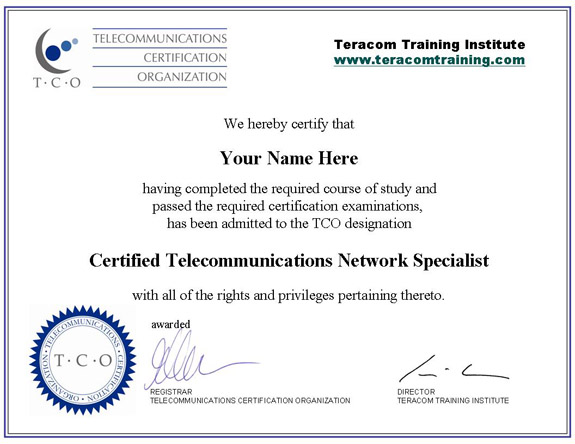 Free online telecommunications training certification course lessons sample certificate yelopaper Choice Image